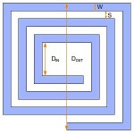 Square planar spiral coil