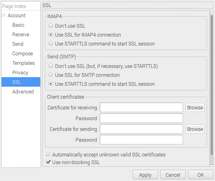 Claw mail SSL configuration