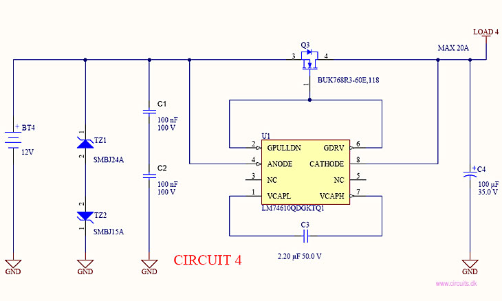 Reverse current / battery polarity protection • Circuits