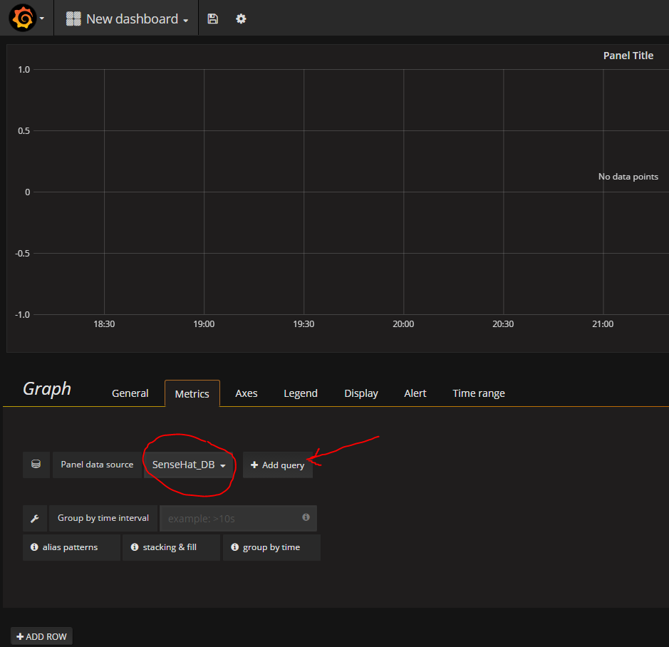 Grafana add database query