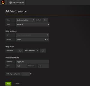 Grafana data source setup