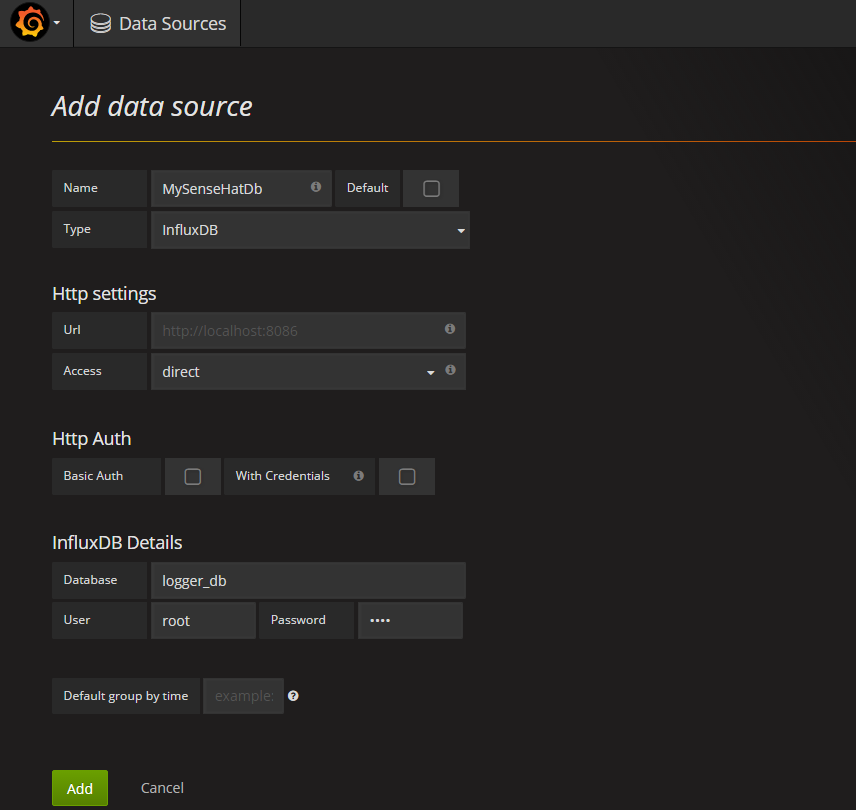 Grafana data source setup