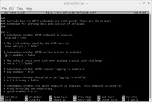 InfluxDB http configuration file edit